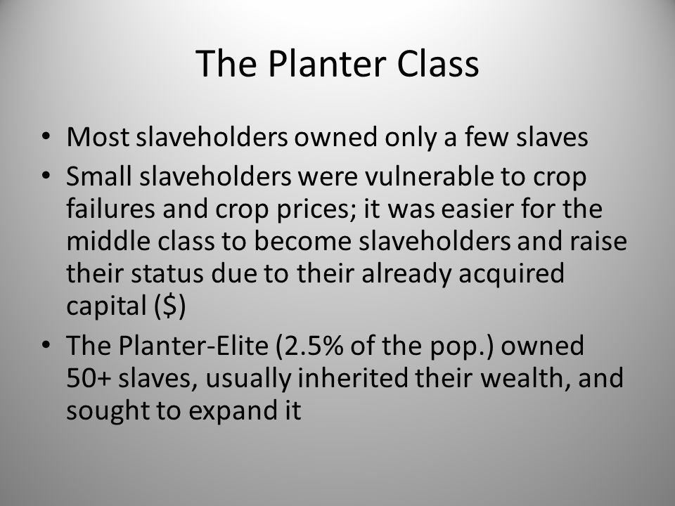The Planter Class Most slaveholders owned only a few slaves