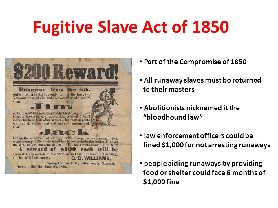 Fugitive Slave Act of 1850 Part of the Compromise of 1850