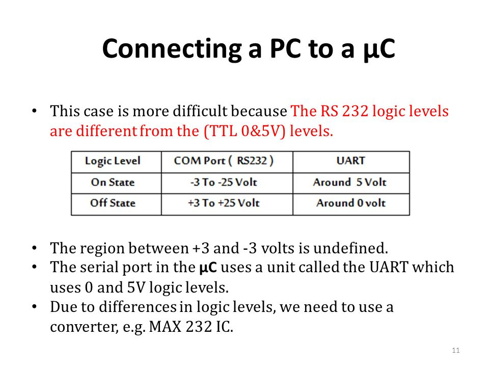 Connecting a PC to a µC This case is more difficult because The RS 232 logic levels are different from the (TTL 0&5V) levels.