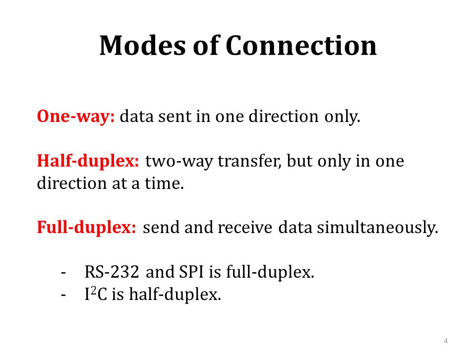 Modes of Connection One-way: data sent in one direction only.