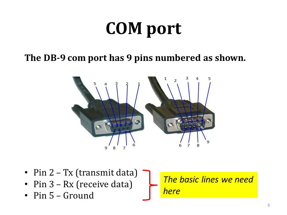 COM port The DB-9 com port has 9 pins numbered as shown.