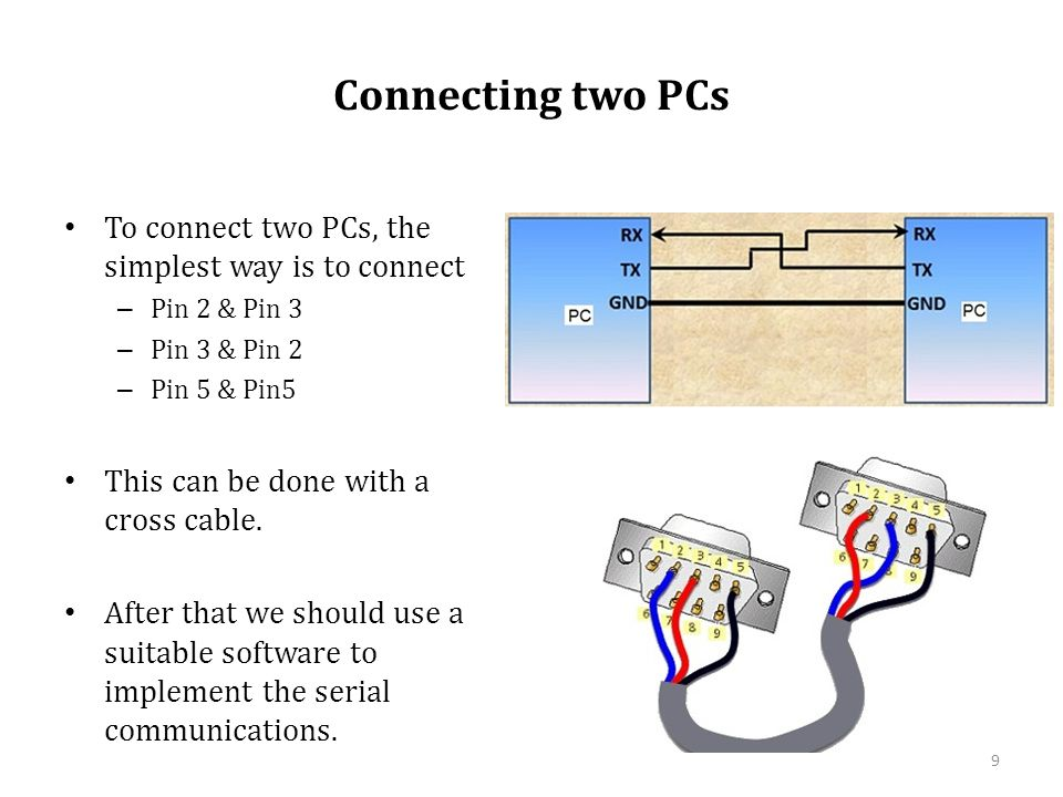 Connecting two PCs To connect two PCs, the simplest way is to connect