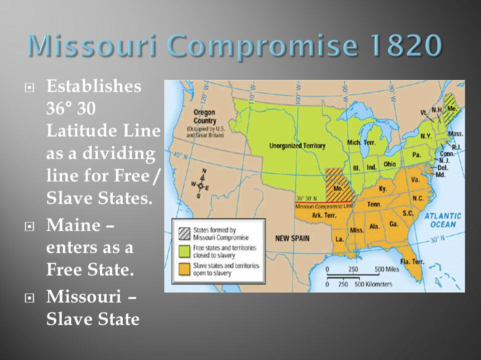 Missouri Compromise 1820 Establishes 36° 30 Latitude Line as a dividing line for Free / Slave States.