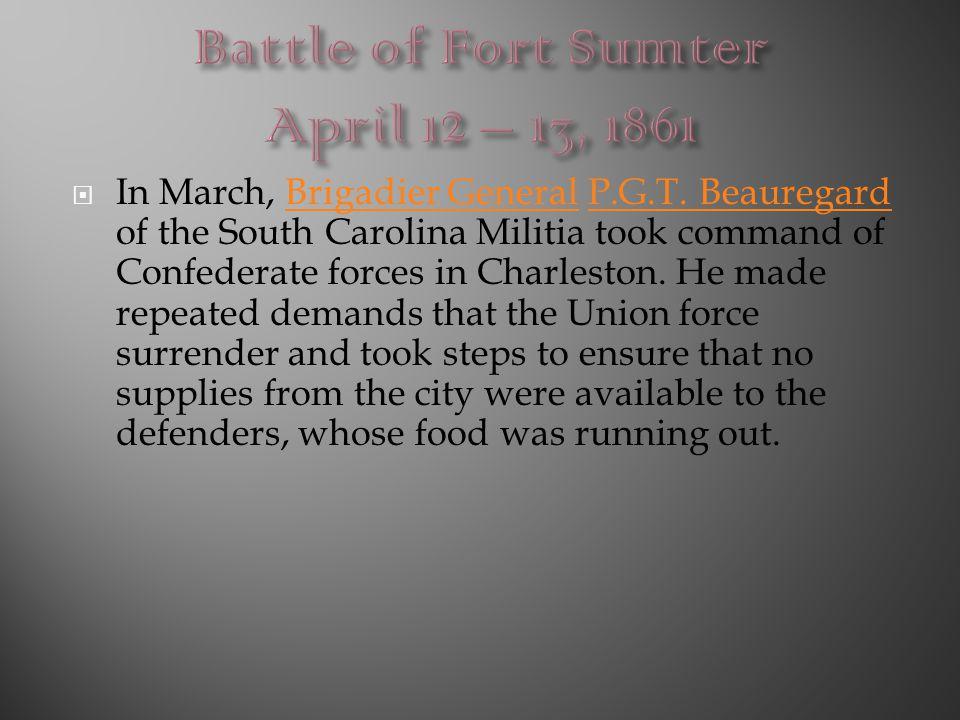 Battle of Fort Sumter April 12 – 13, 1861
