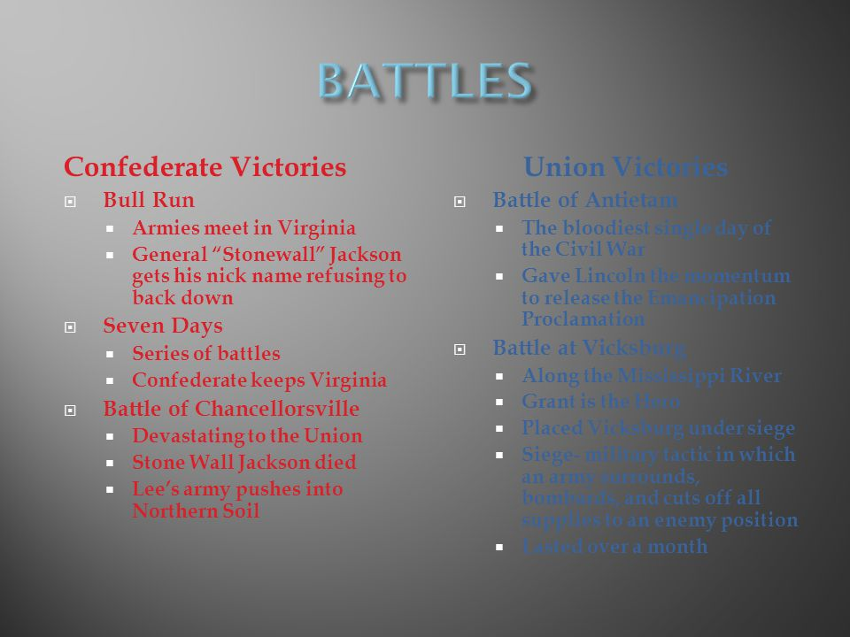 BATTLES Confederate Victories Union Victories Bull Run Seven Days