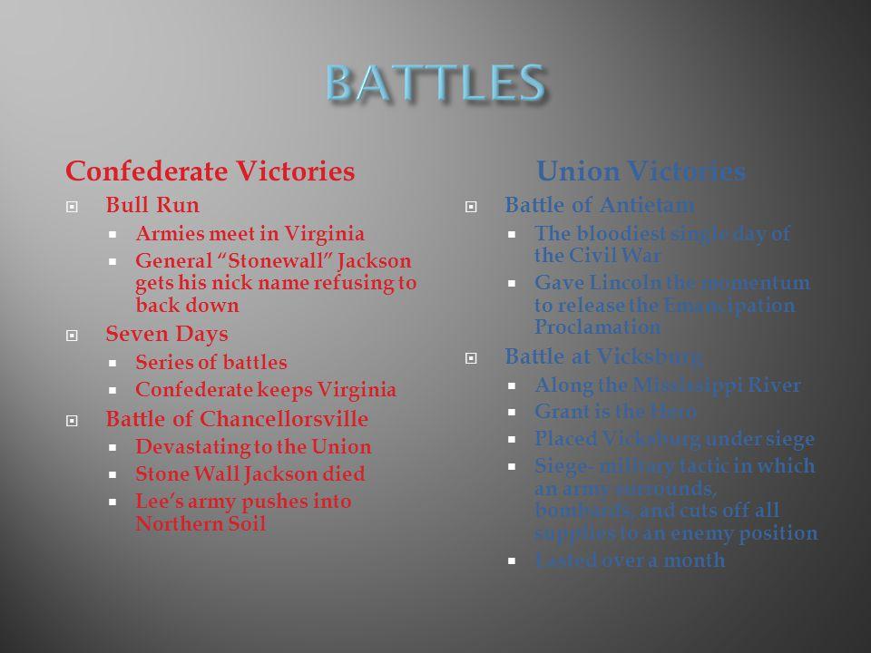 BATTLES Confederate Victories Union Victories Bull Run Seven Days