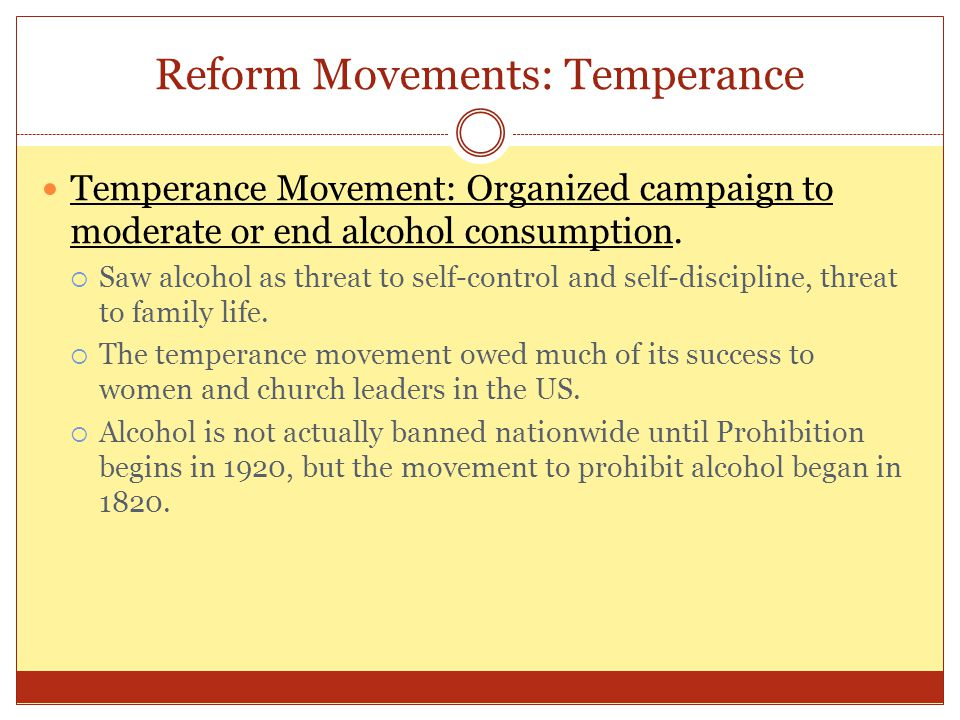 Reform Movements: Temperance