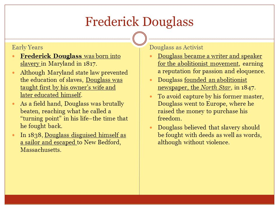 Frederick Douglass Early Years