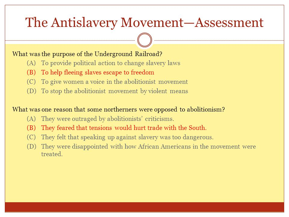 The Antislavery Movement—Assessment