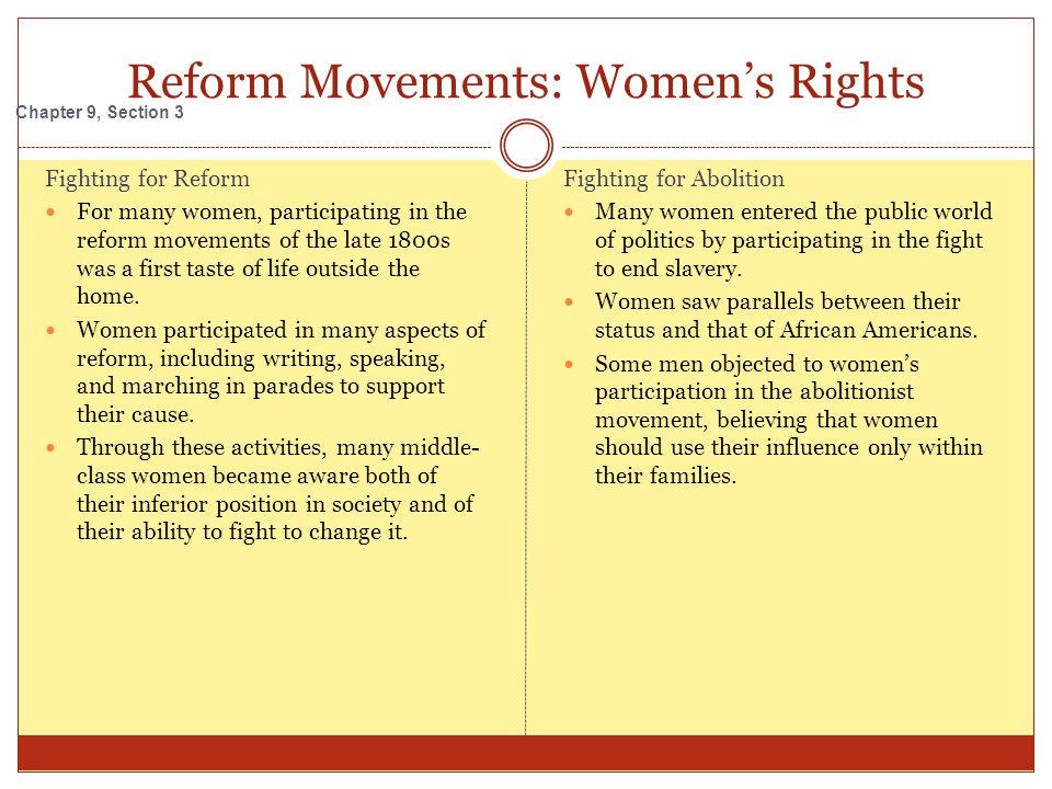 Reform Movements: Women's Rights
