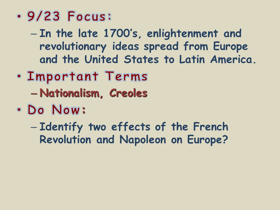 9/23 Focus: Important Terms Do Now: