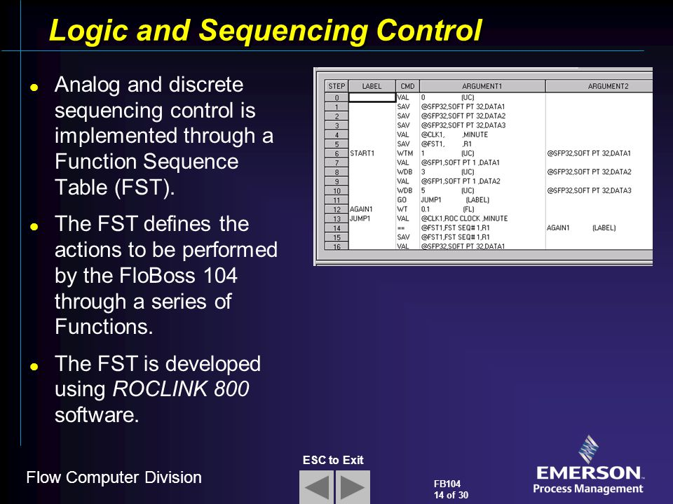 Logic and Sequencing Control