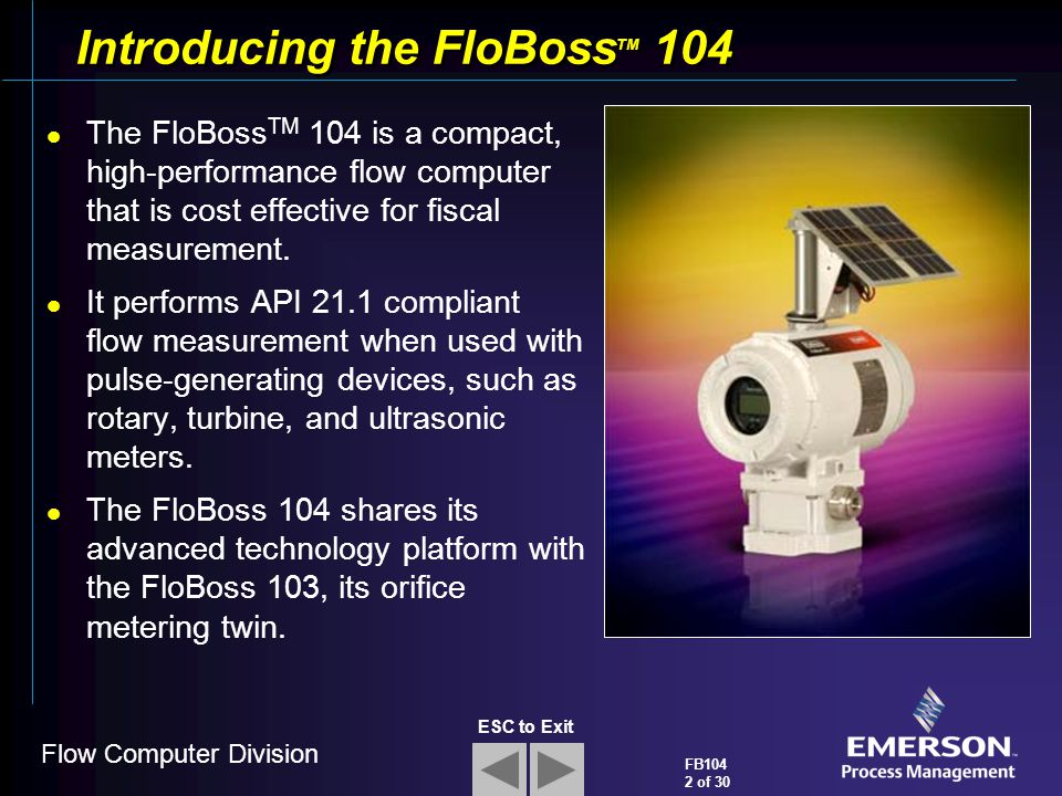 Introducing the FloBossTM 104