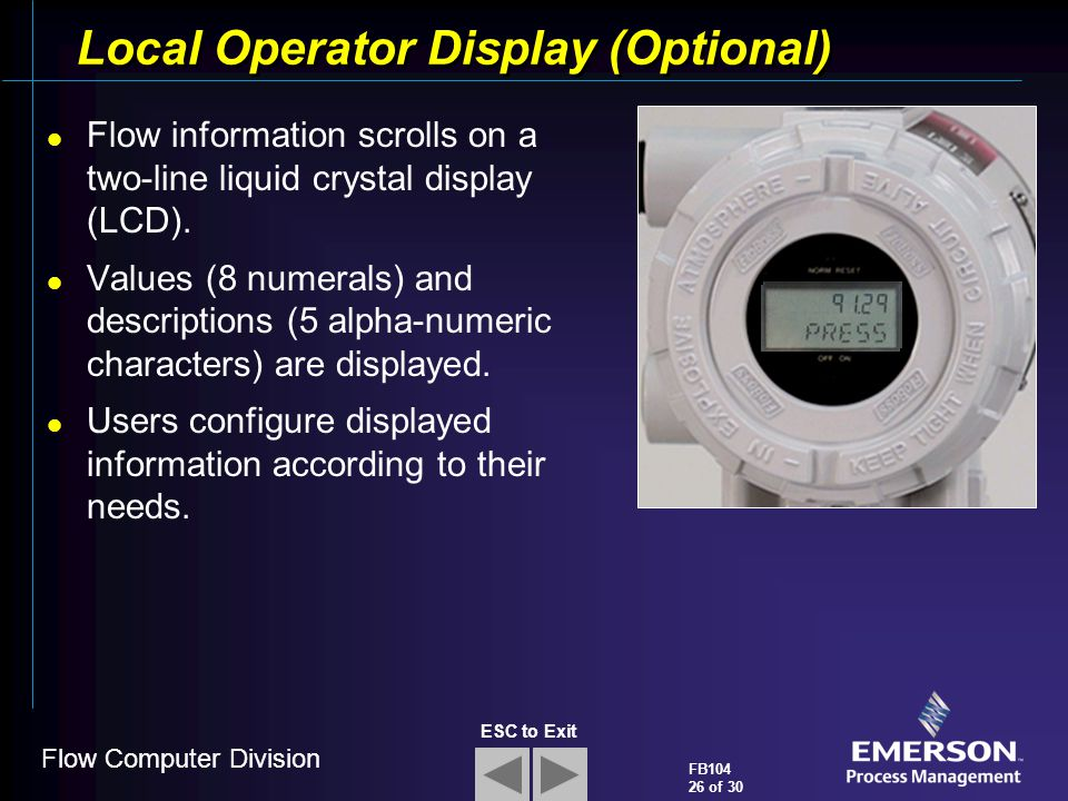 Local Operator Display (Optional)