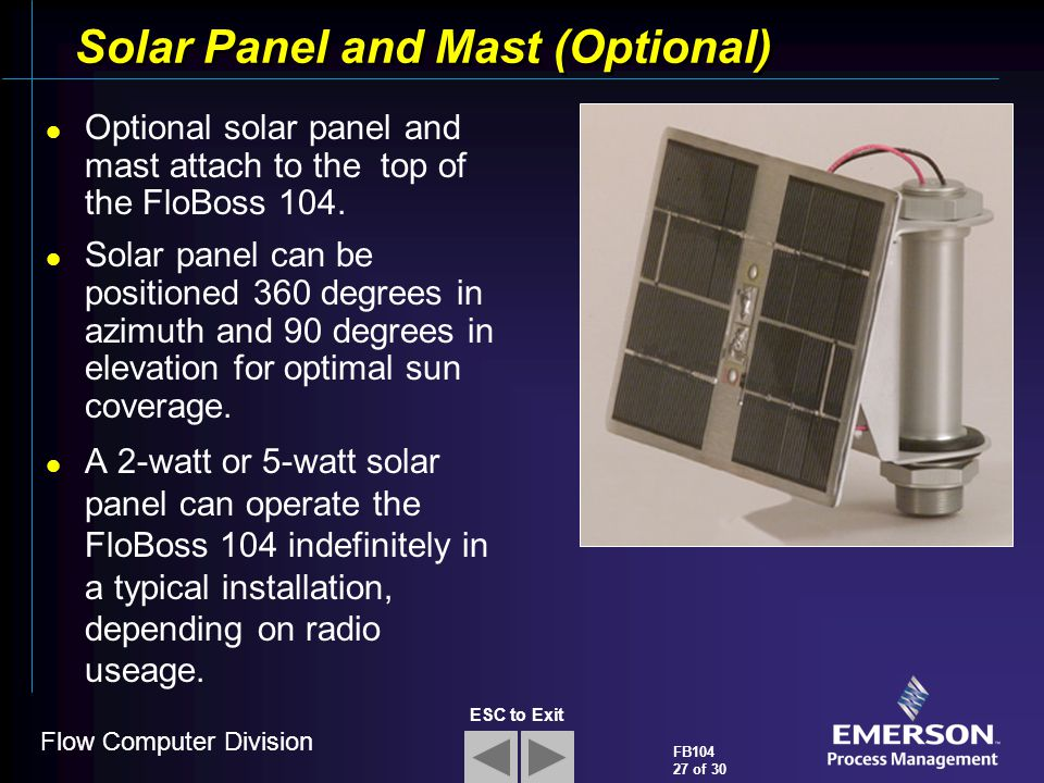 Solar Panel and Mast (Optional)