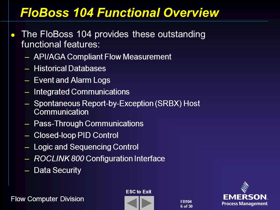 FloBoss 104 Functional Overview