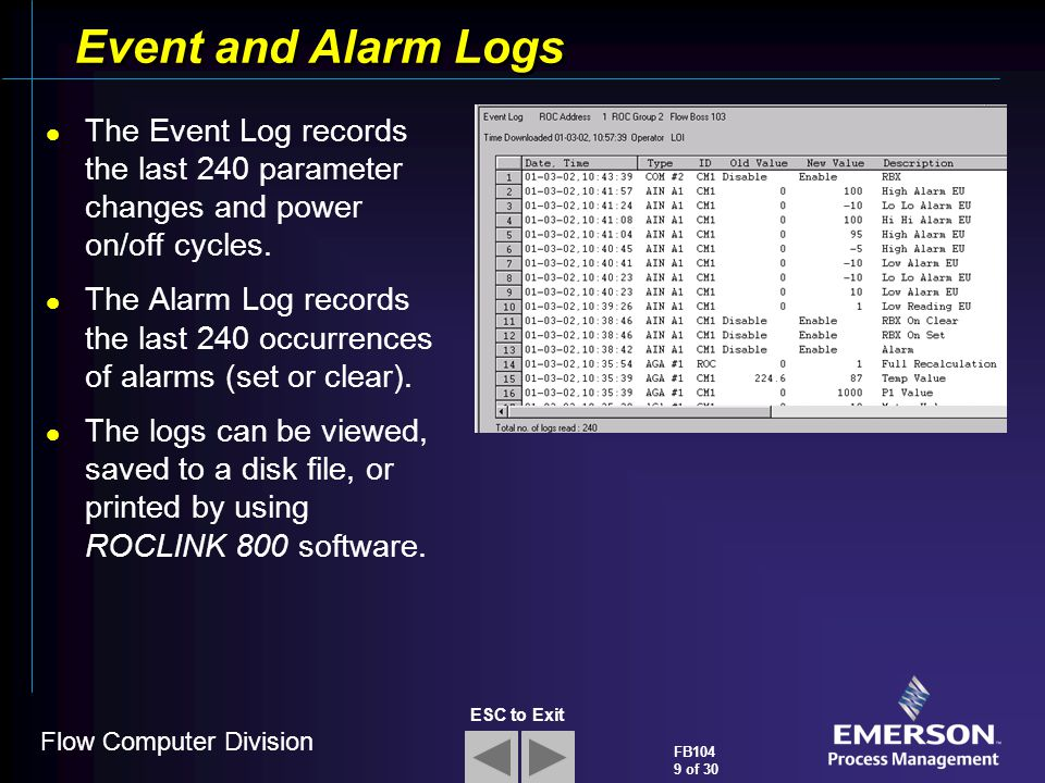 Event and Alarm Logs The Event Log records the last 240 parameter changes and power on/off cycles.