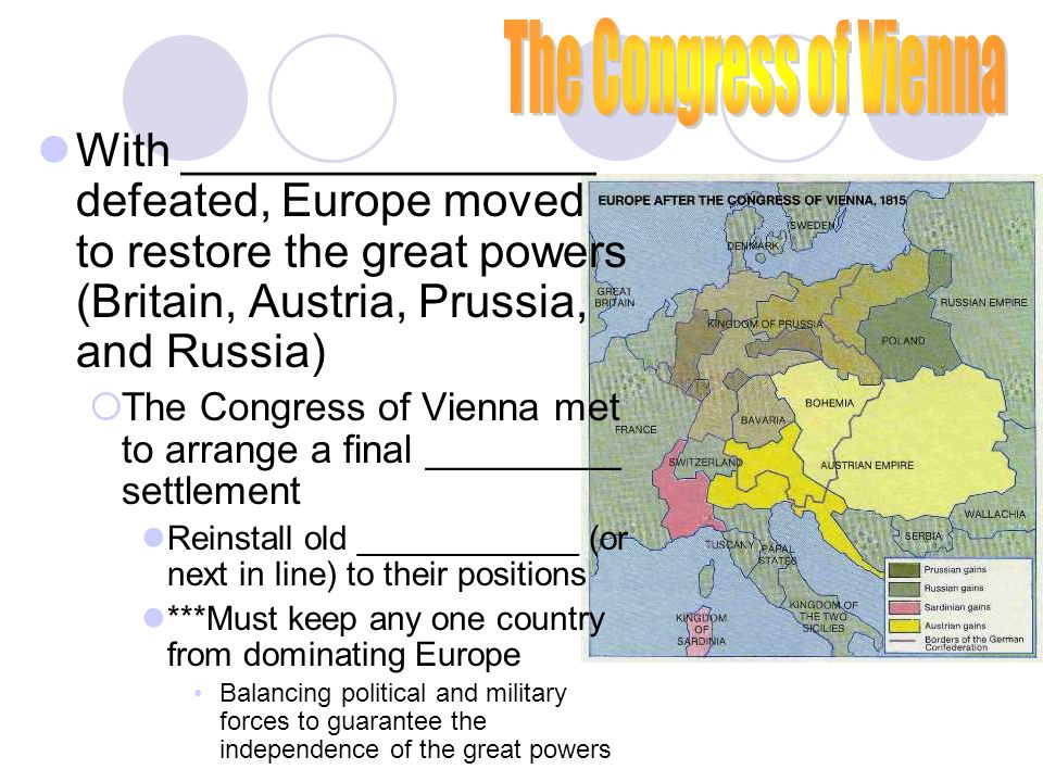 The Congress of Vienna With ________________ defeated, Europe moved to restore the great powers (Britain, Austria, Prussia, and Russia)