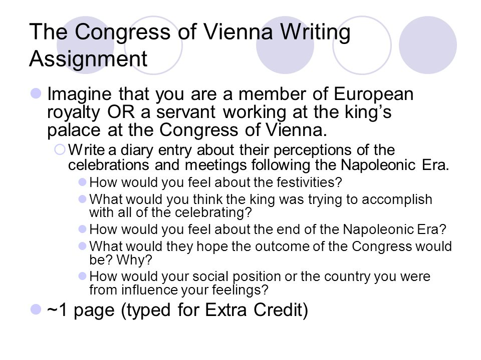 The Congress of Vienna Writing Assignment