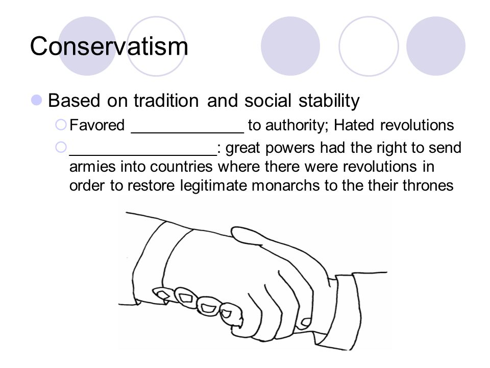 Conservatism Based on tradition and social stability