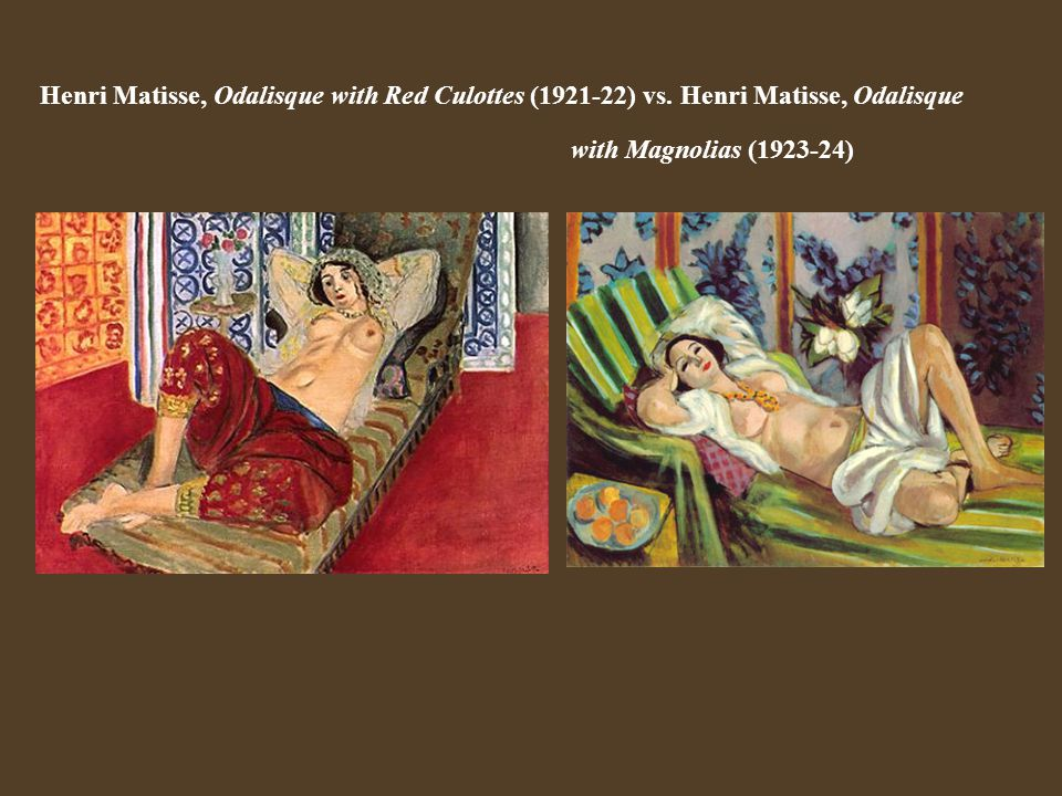 Henri Matisse, Odalisque with Red Culottes (1921-22) vs