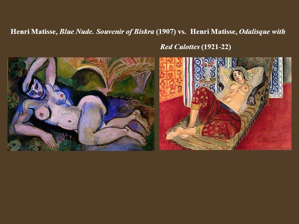 Henri Matisse, Blue Nude. Souvenir of Biskra (1907) vs