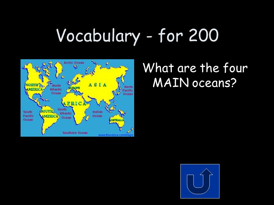 Vocabulary - for 200 What are the four MAIN oceans