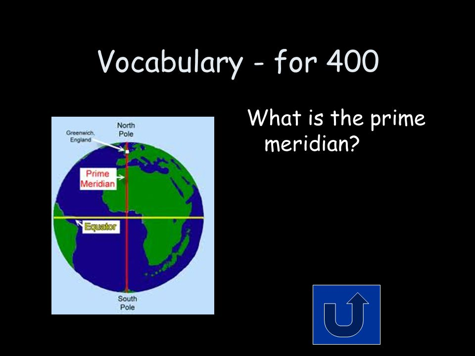 Vocabulary - for 400 What is the prime meridian