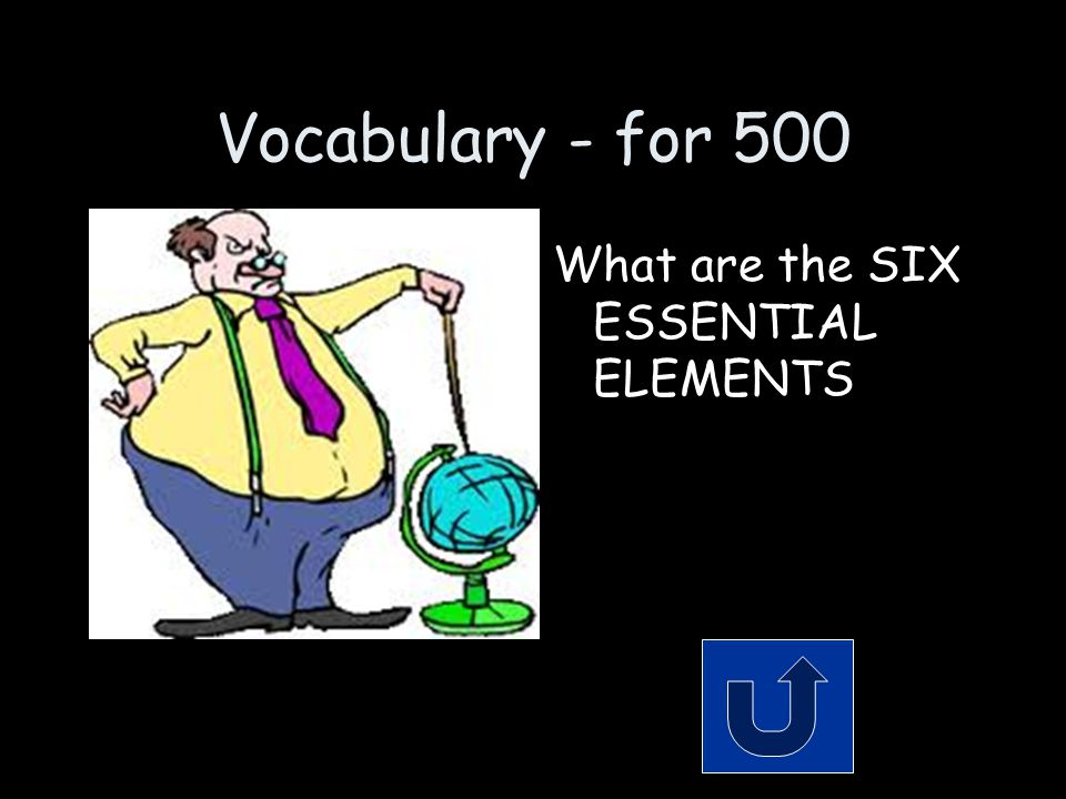 Vocabulary - for 500 What are the SIX ESSENTIAL ELEMENTS