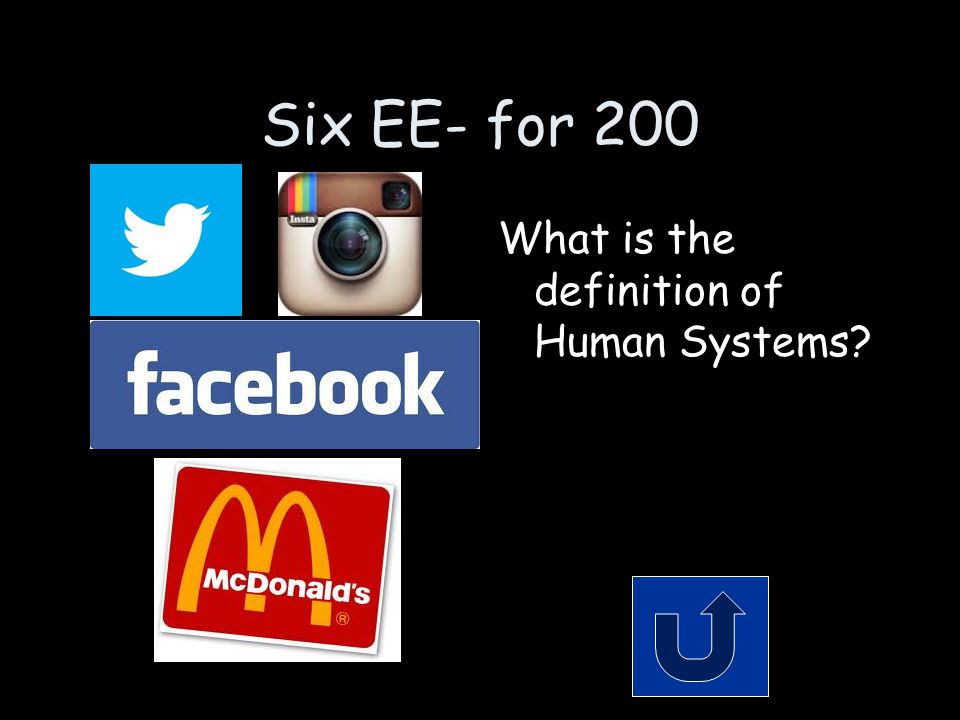 Six EE- for 200 What is the definition of Human Systems