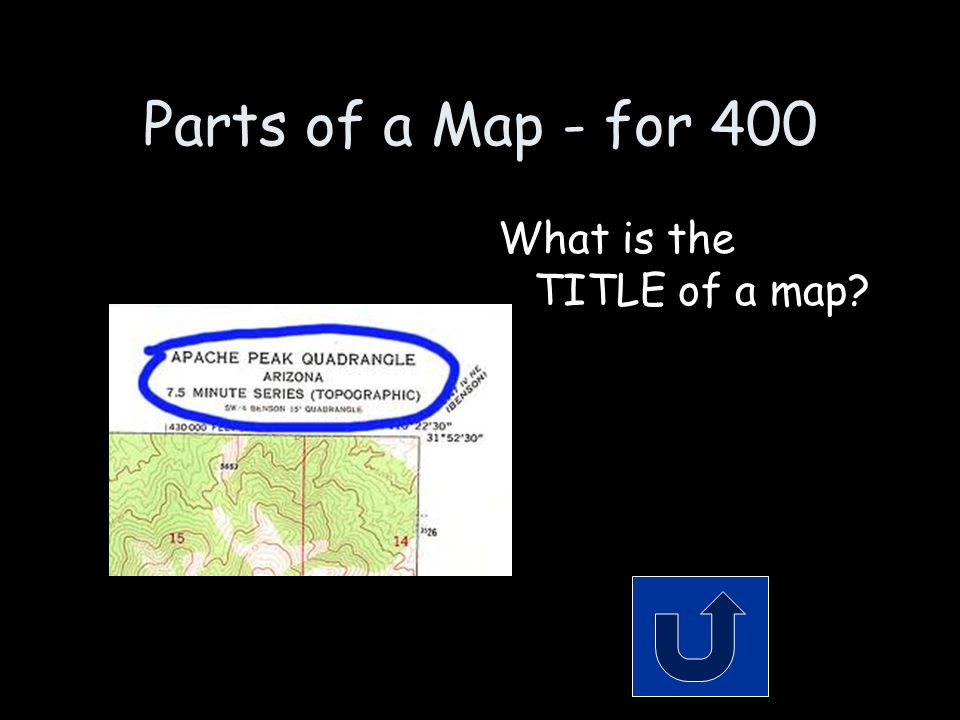Parts of a Map - for 400 What is the TITLE of a map