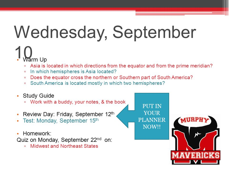 Wednesday, September 10 Warm Up Study Guide