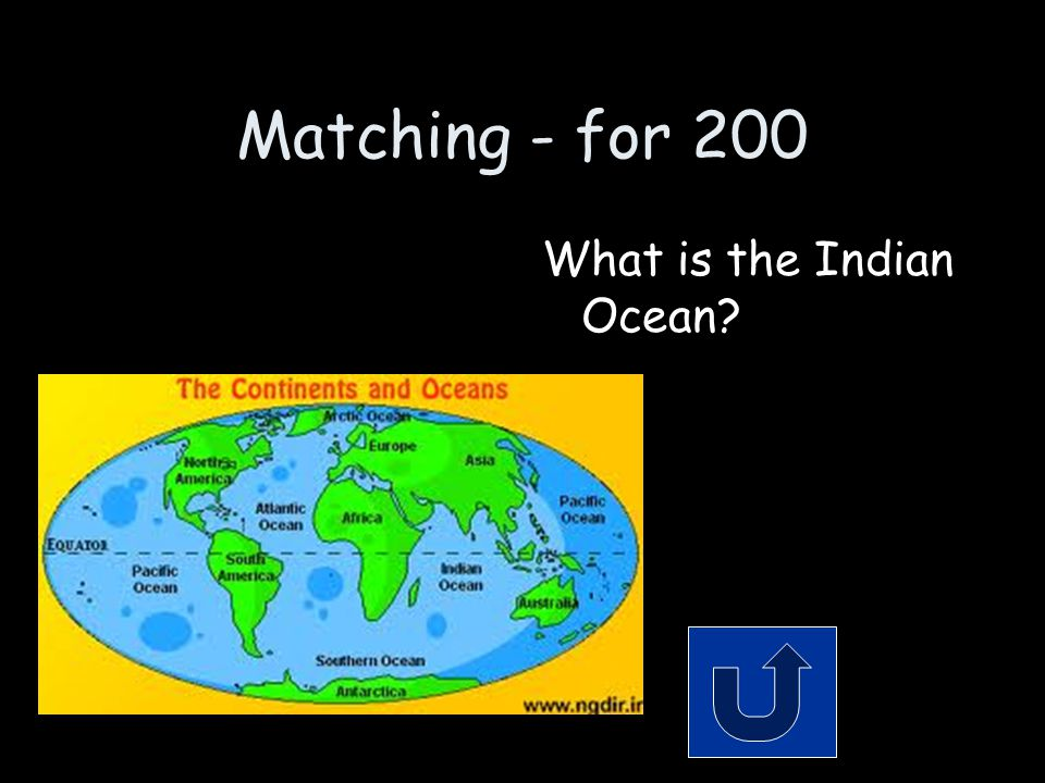 Matching - for 200 What is the Indian Ocean