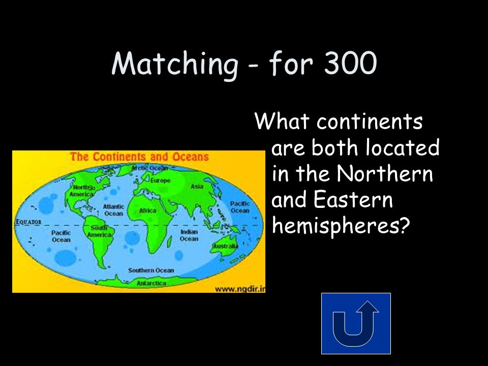 Matching - for 300 What continents are both located in the Northern and Eastern hemispheres
