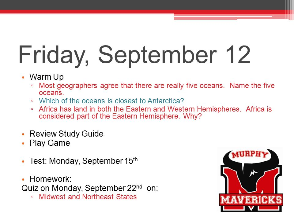 Friday, September 12 Warm Up Review Study Guide Play Game