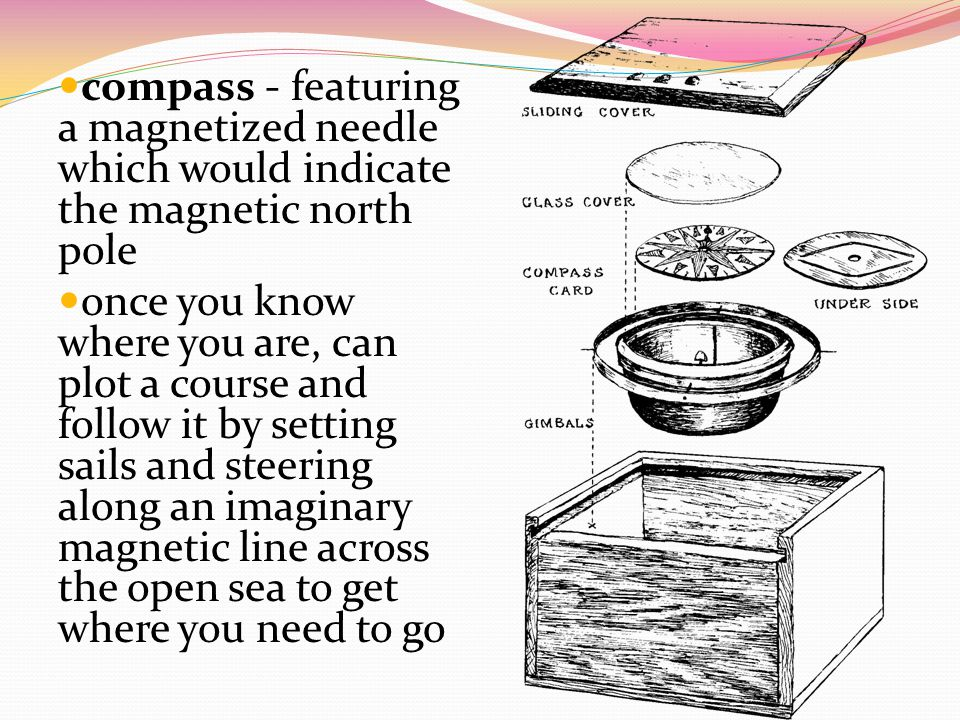 compass - featuring a magnetized needle which would indicate the magnetic north pole