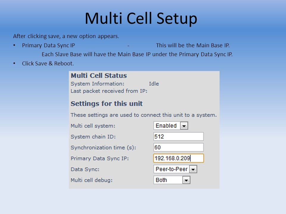 Multi Cell Setup After clicking save, a new option appears.