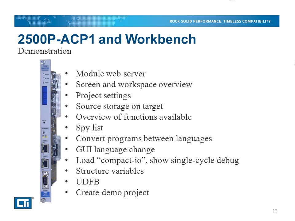 2500P-ACP1 and Workbench Demonstration Module web server