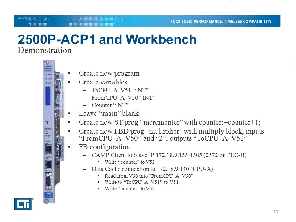 2500P-ACP1 and Workbench Demonstration Create new program