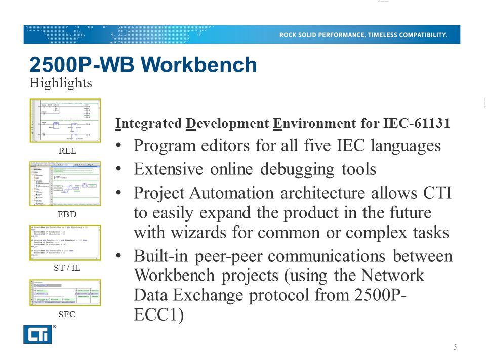2500P-WB Workbench Program editors for all five IEC languages