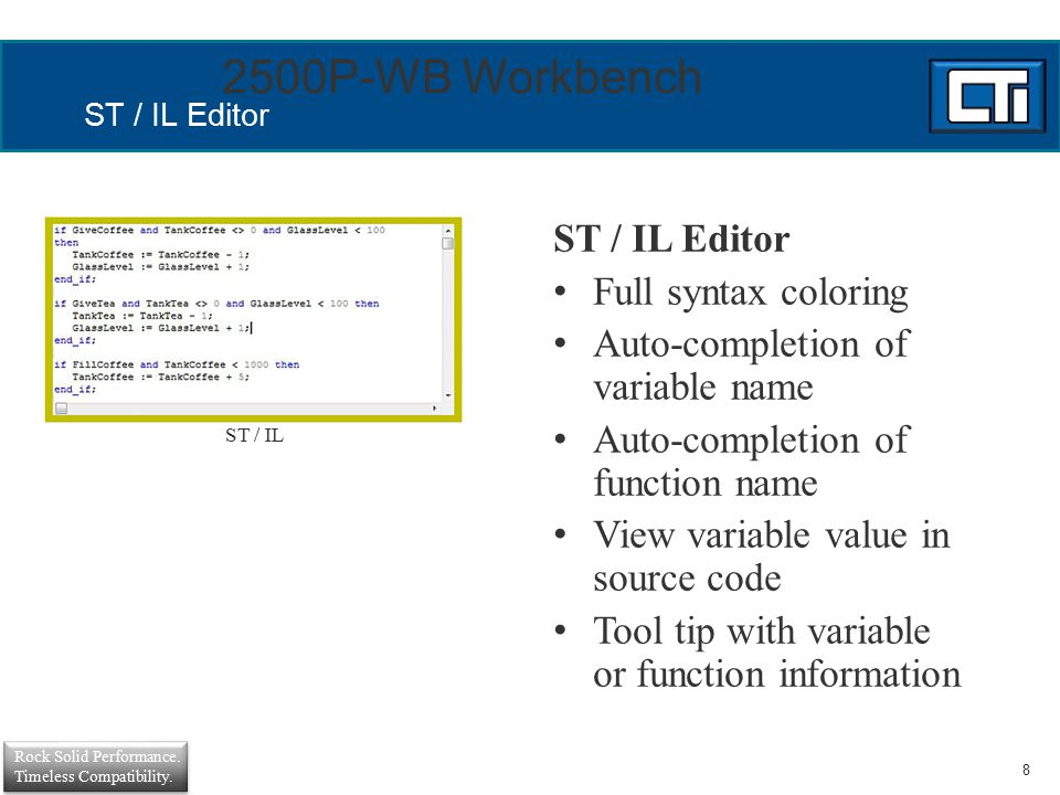 2500P-WB Workbench ST / IL Editor Full syntax coloring