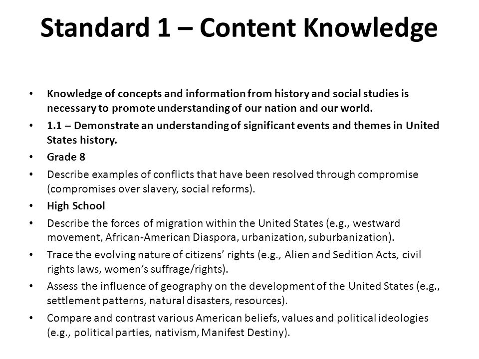 Standard 1 – Content Knowledge