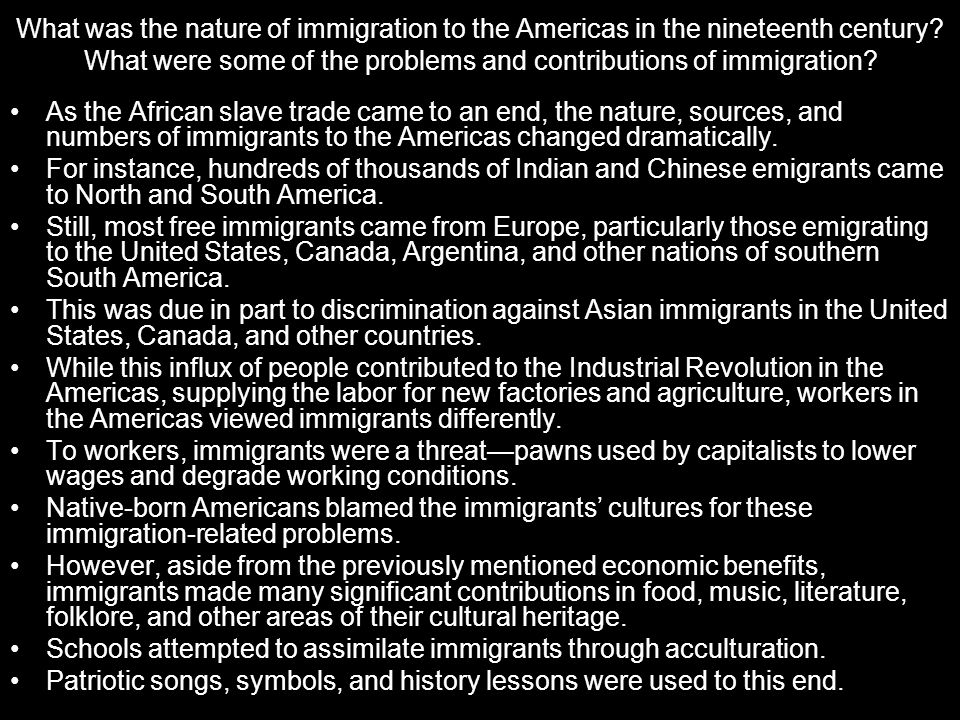 What was the nature of immigration to the Americas in the nineteenth century What were some of the problems and contributions of immigration