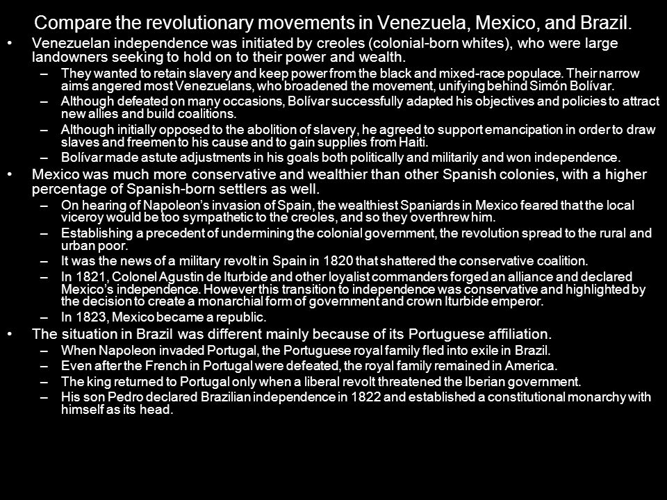 Compare the revolutionary movements in Venezuela, Mexico, and Brazil.