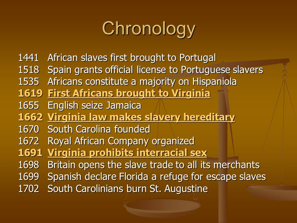 Chronology 1441 African slaves first brought to Portugal