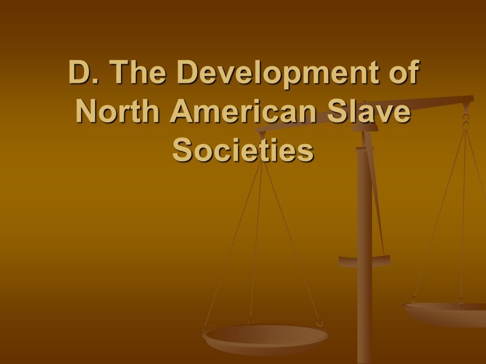 D. The Development of North American Slave Societies