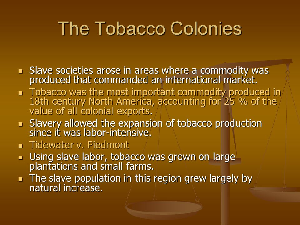 The Tobacco Colonies Slave societies arose in areas where a commodity was produced that commanded an international market.