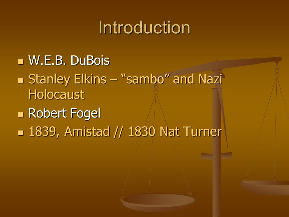 Introduction W.E.B. DuBois Stanley Elkins – sambo and Nazi Holocaust