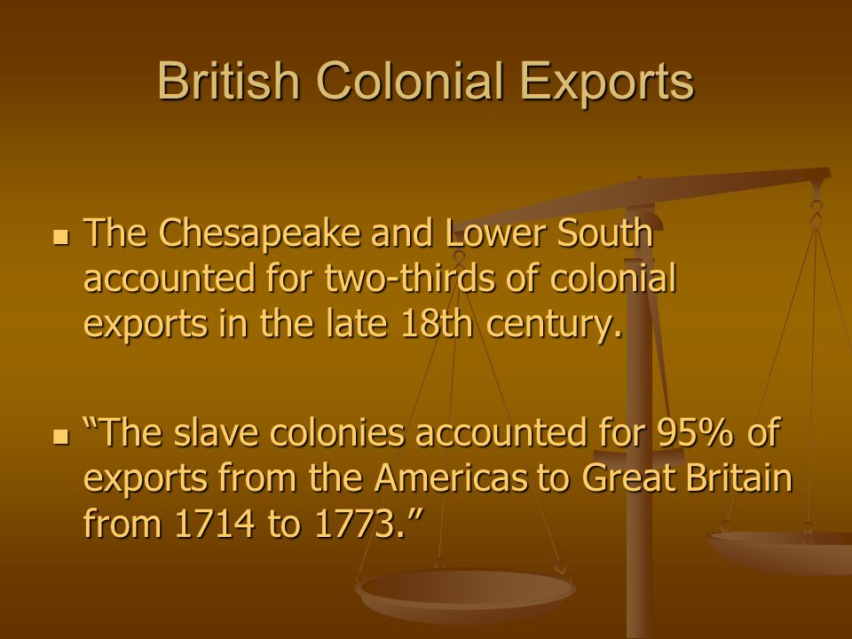 British Colonial Exports