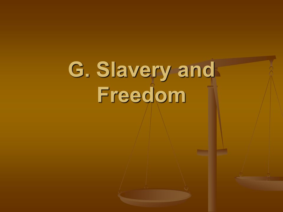 G. Slavery and Freedom
